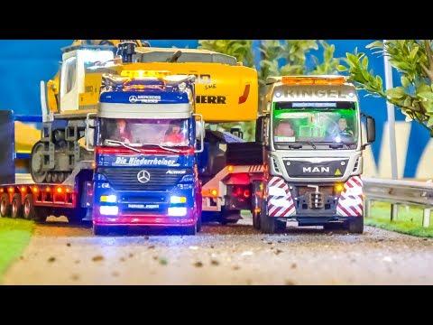 RC semi truck EXTREME! Mega excavator heavy transport!