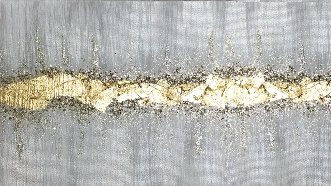 Abstract Acrylic Painting Technique With Glitter And Gold Leaf Youtube