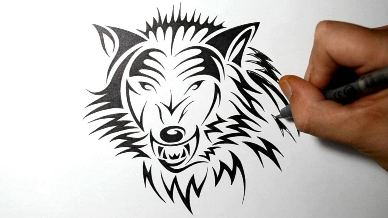 How to draw a fierce wolf tribal tattoo design style youtube ccuart Choice Image