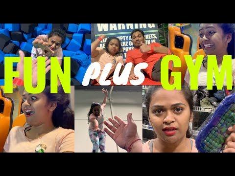 ఇక్కడ FUN తో పాటు GYM workout కూడా అయ్యింది!! |Trampoline, rebounderz in Edison | AmericaloAmmakutti