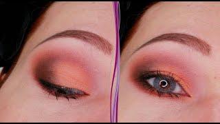 Матовый персиковый дневной макияж глаз Пошаговый урок