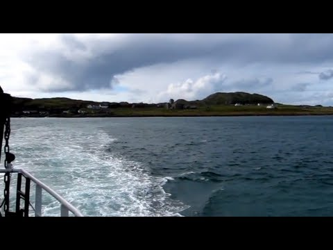 Crossing from Iona to Mull (Fionnphort) on Passenger Ferry - Island views and views of Iona Abbey