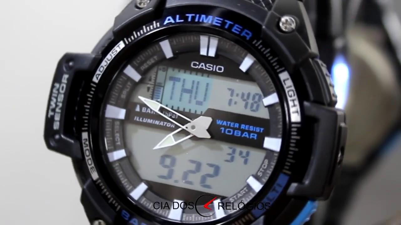 b3e9f4a70de Casio Pro Trek Twin Sensor Masculino SGW 450H 1ADR. Cia dos Relógios