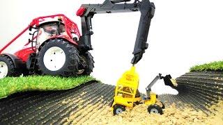 Игры с машинками Bruder и детский канал #ЖелтыйЭкскаватор. Мультик из игрушек и рабочие #машинки.