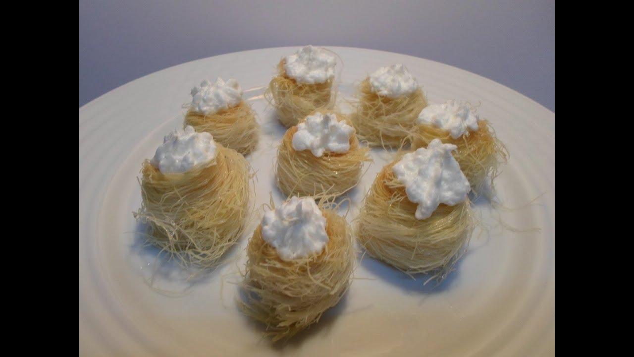 طريقة عمل الكنافة عش العصفور أو عش البلبل المحشية بالكريم شانتيه البودر