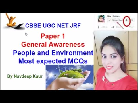 CBSE UGC NET General Awareness | People and Environment | Most expected MCQs