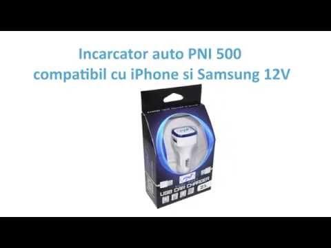Incarcator auto PNI 500 compatibil cu iPhone si Samsung 12V