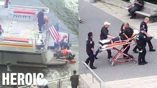 HEROIC RESCUE IN NEW YORK RIVER SAVES MANS LIFE