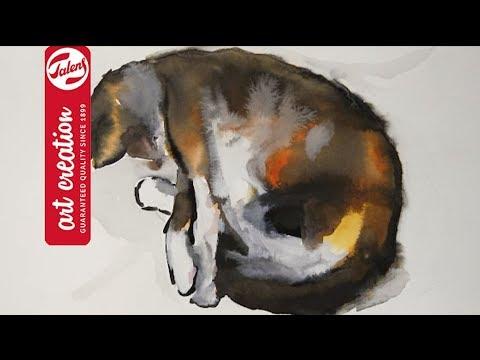 Cat Painting Cat Nap: Print of Original Watercolor /& India Ink Painting Sleeping Kitten Cat Artwork Sleeping Cat Painting Cat Print