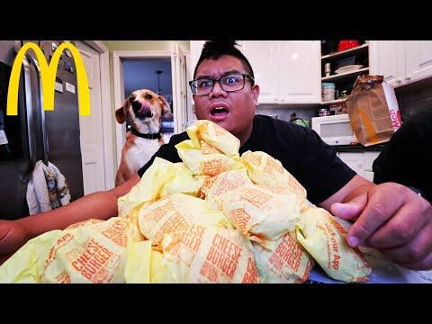 Massive 30 McDonalds Cheeseburger Pile