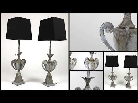 Pair Of 19th Century Zinc Architectural Elements, French Circa 1880, Mounted As Table Lamps
