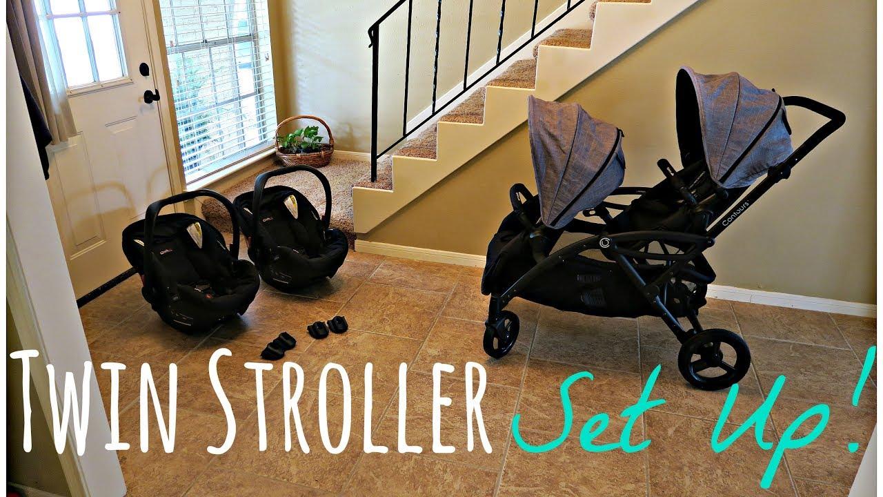 TWIN STROLLER SET UP! Contours Options Elite & Britax B Safe 35 ...