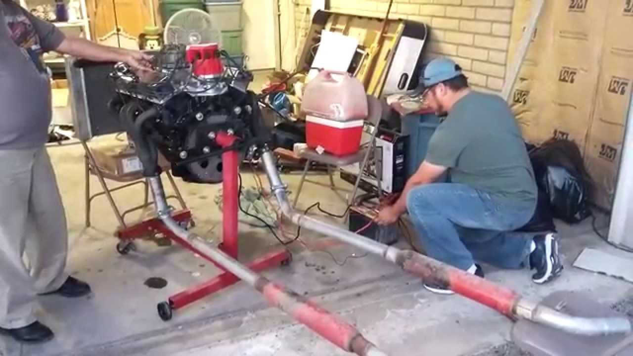 Our 1st complete rebuilt Chevy Engine 350 bored 30 over