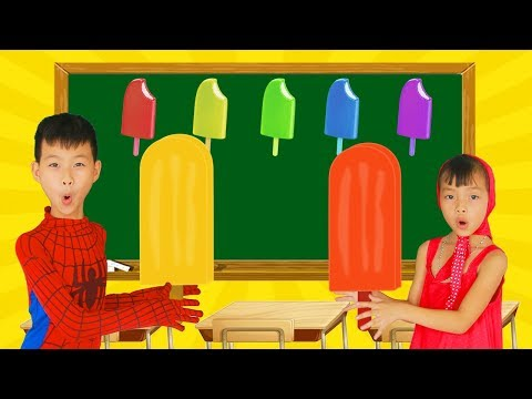 School colors Superman Fishing POPSICLE vs Ice Cream Tubs w/ Spiderman Paint Lollipop Learn Color