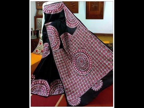 latest kantha work sarees