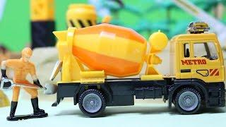 รีวิวของเล่นรถก่อสร้าง รถโม่ปูน เครน ช่วยกันทำงานก่อสร้าง  Toy Truck Videos for Children