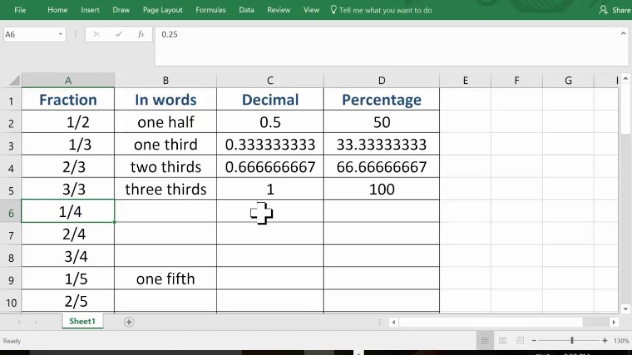 fraction to decimal spreadsheet youtube. Black Bedroom Furniture Sets. Home Design Ideas