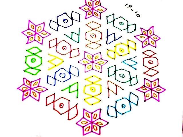 190) - 19x10 dots Design chocolate Rangoli, muggu, kolam, telugu muggulu, sankranthi muggu