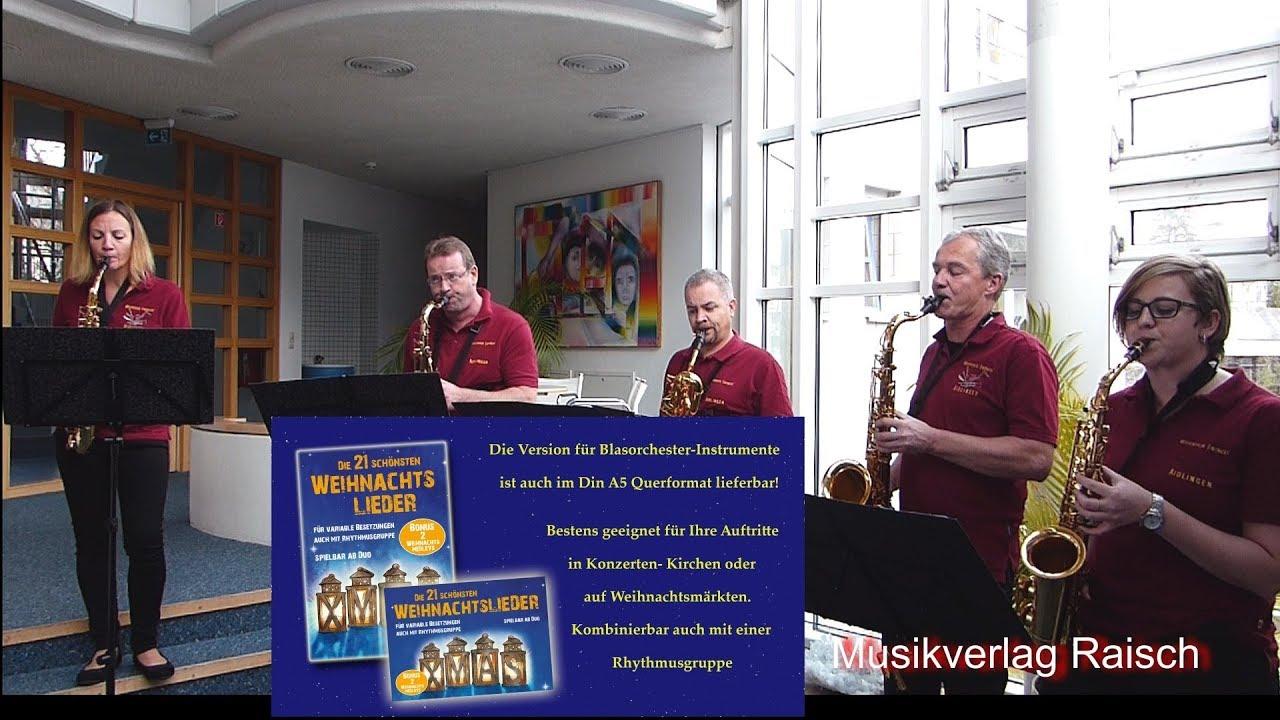 Kirchen Weihnachtslieder.Saxofon Ensemble Spielt 3 Weihnachtslieder