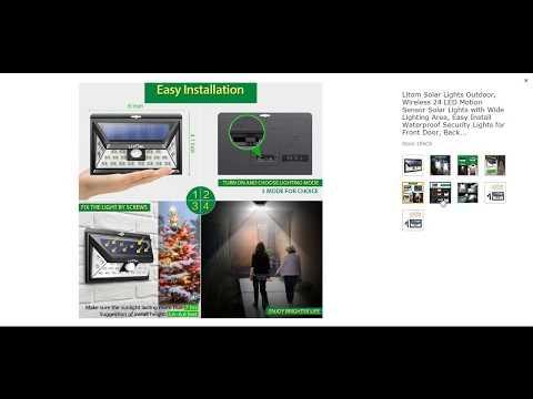 Litom Solar Lights Outdoor, Wireless 24 LED Motion Sensor Solar Lights with Wide Lighting Area