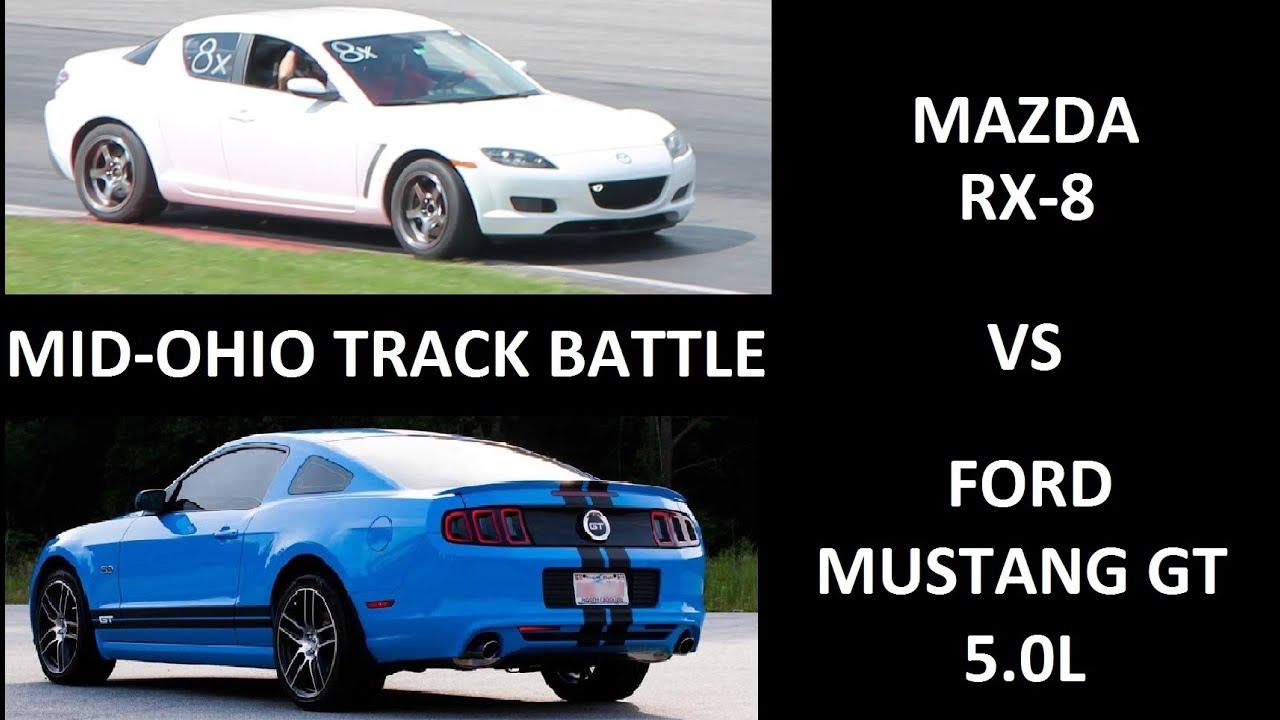 Mazda rx 8 vs 420hp mustang gt 5 0l track battle
