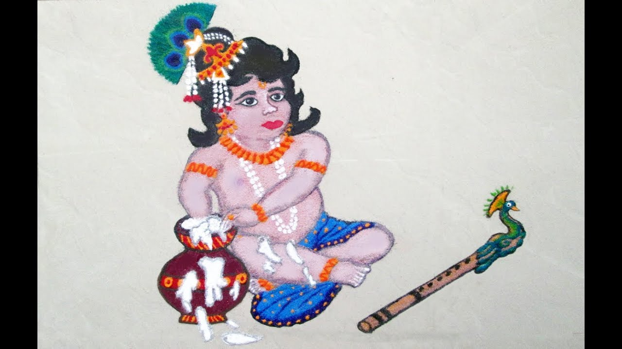 Shree Krishna Rangoli   Little Krishna Rangoli   Krishna Poster ...