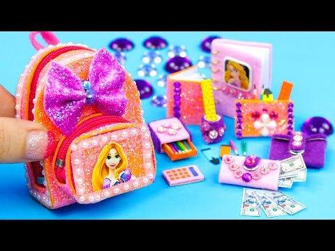 DIY Miniature Rapunzel School Supplies ~ Backpack, Notebook, Pencil Case