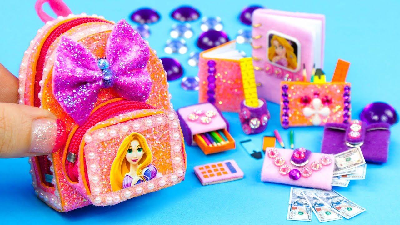 9c502fdd4c3e DIY Miniature Rapunzel School Supplies ~ Backpack