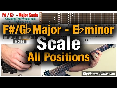 Guitar Lesson: F# Major (D# minor) Scale in 7 positions / Modes Covering the Fretboard