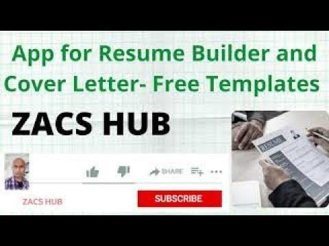 Resume App 4 Mobile Smart Cv Builder Resume Cover Letter Builder App Free Nu Templates Design Youtube