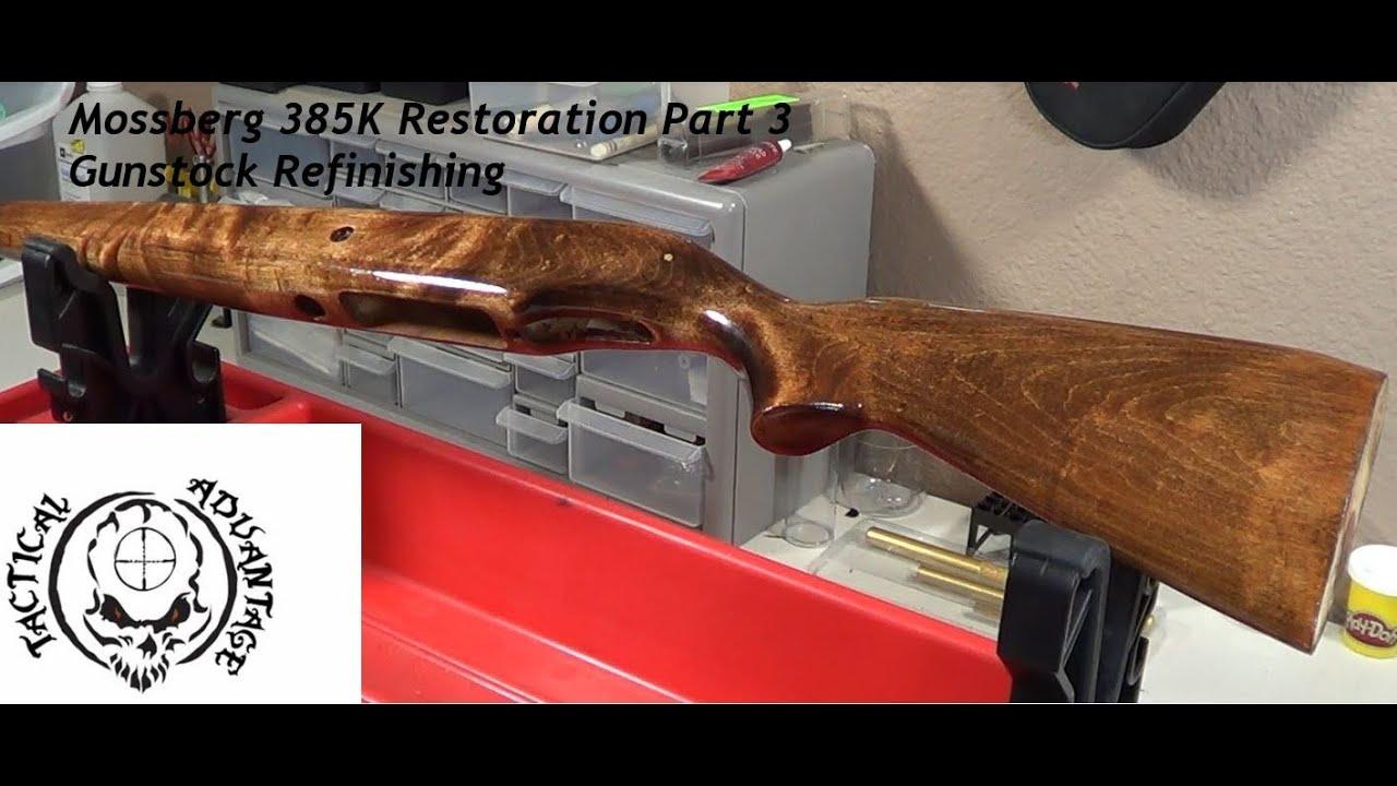 Gun stock refinishing, Mossberg Model 385k restoration pt  3