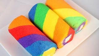 How to Make Rainbow Cake Roll / Cake roll Recipe /彩虹蛋糕卷