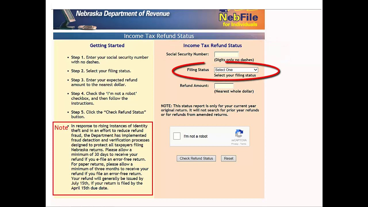 How To Check The Status Of Your Nebraska Individual Income Tax Refund Youtube