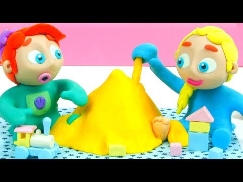 Elsa & Ariel Make Sand Figures ❤ Superhero & Frozen Play Doh Cartoons For Kids ❤ Stop Motion Movies