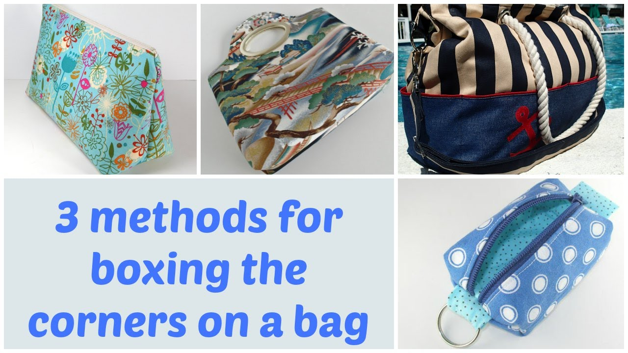 3 methods for boxing the corners on a bag. So Sew Easy c15aa362afc9c