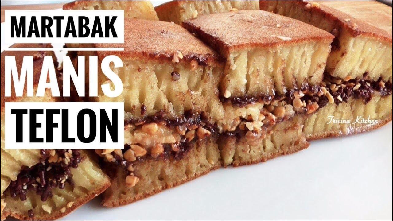 Resep MARTABAK MANIS (TERANG BULAN) TEFLON  Indonesian Thick Pancake  Recipe  Trivina Kitchen