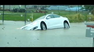 Tesla Model S Does NOT Float  (D0M1N0 GOES SWIMMING)