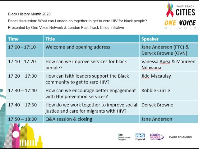 Panel Discussion: What London can do together to get to zero HIV for Black people?