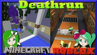ROBLOX VS MINECRAFT | Deathrun | Is it Mineblox or Rocraft? SallyGreenGamer Geegee92 family friendly