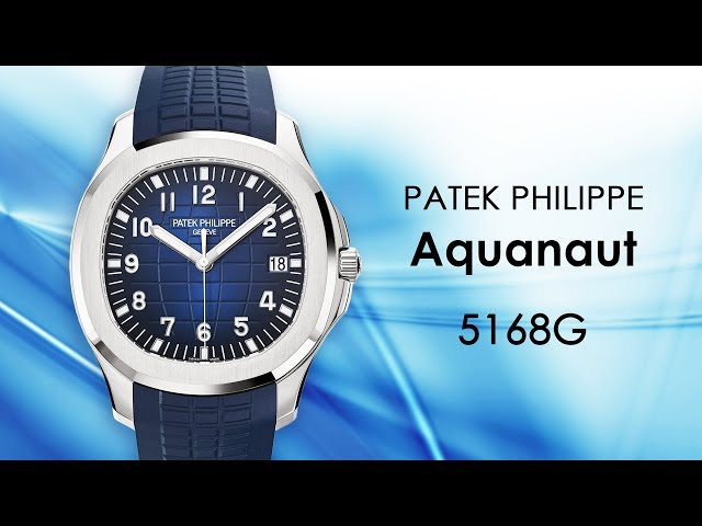 Patek Philippe Aquanaut 5168G-001 18K White Gold / Blue Dial Automatic Mens Watch