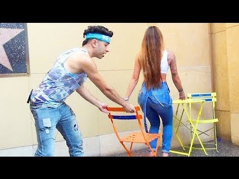 Chair Pulling Prank in Hollywood!