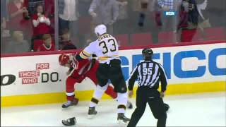 Zdeno Chara vs Jay Harrison fight April 13 2013 Boston Bruins vs Carolina Hurricanes NHL Hockey
