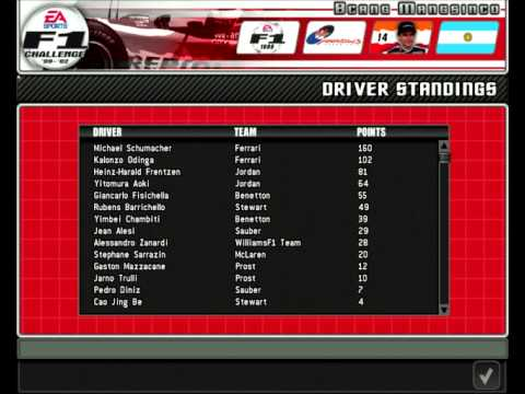 Drivers 1999 short formula 1 world championship grand prix for Championship table 98 99