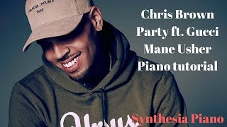 Chris Brown Party ft Gucci Mane Usher Piano tutorial  | Synthesia Lessons