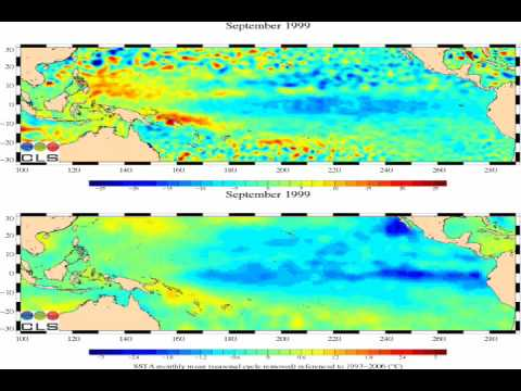 AVISO Tropical Pacific Sea Level Anomaly and Sea Surface Temperature Anomaly Animation  Fast