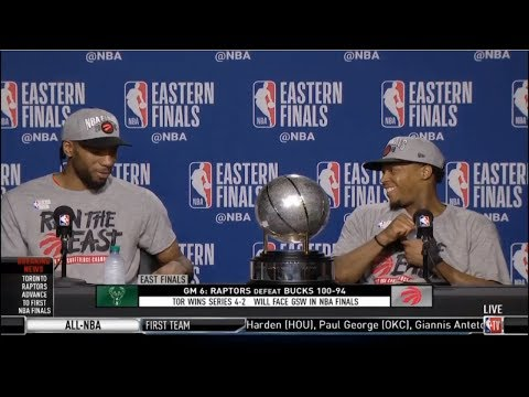 Kawhi Leonard & Kyle Lowry PostGame Interview   Raptors beat Bucks 100-94 to reach first NBA Finals