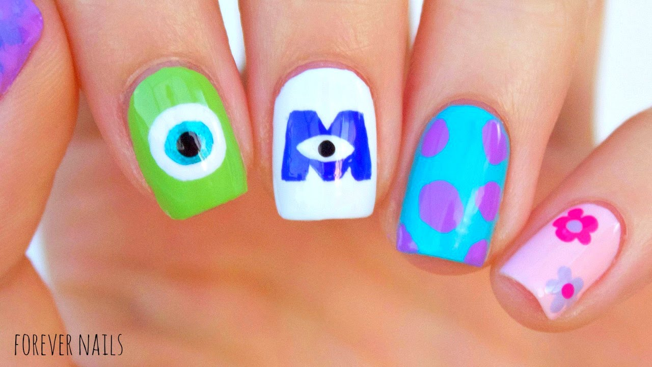 Disney\'s Monsters Inc Nails - YouTube
