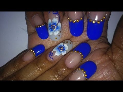 Royal Blue French With Gold Studs Flower Nail Art Design Youtube