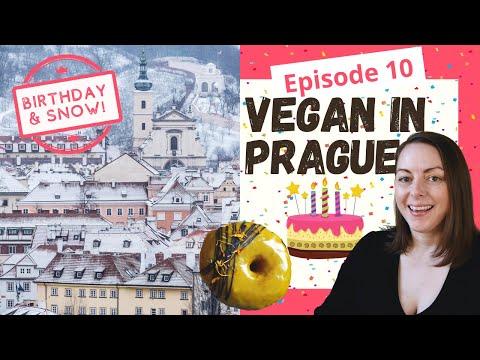 Vegan in Prague Ep. 10 - My Birthday! Plus, SNOW in Prague & Vegan Donuts, Burgers & Pad Thai