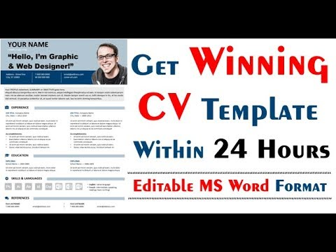 Get Free Winning Cv Template In Editable Microsoft Word And Pdf